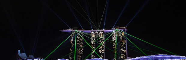 Laser + Water Show, Marina Sands, Singapore - Photo: Luke Ma via Flickr, used under Creative Commons License (By 2.0)